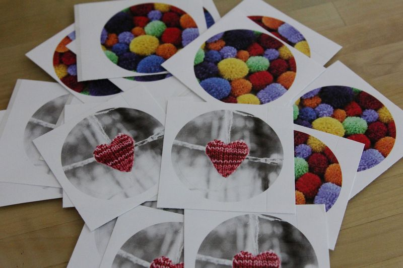 Pom-pom and knit heart stickers by Ms. Ellaneous